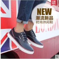 富贵鸟男鞋新款韩版青年板鞋系带透气皮鞋休闲鞋真皮软面皮鞋 A644007