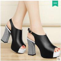 古奇天伦新款潮夏季女鞋百搭韩版罗马一字带鱼嘴粗跟高跟凉鞋8353