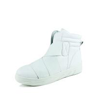 新百伦阿迪 2017春夏新款韩版透气板鞋潮高帮鞋白色帆布鞋休闲鞋内增高男鞋子