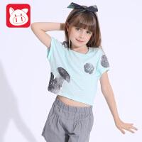 小猪班纳童装女童短袖T恤2017新款中大童夏季上衣儿童纯棉体恤衫