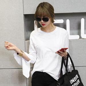 2017春夏新款纯色喇叭长袖圆领T恤韩版女装BB17808