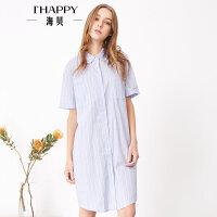 【5.9上新】海贝2017年夏季新款女装 全棉清新翻领单排扣中长款条纹短袖衬衫
