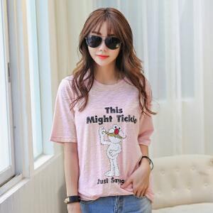 2017女士春夏新款字母印花韩版宽松拉架棉短袖T恤BB17232