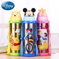 迪士尼儿童保温杯 可爱背带吸管卡通水杯 学生水壶