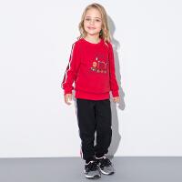 米奇丁当童装女童中大童套装2017新品秋装运动百搭卡通卫衣套装