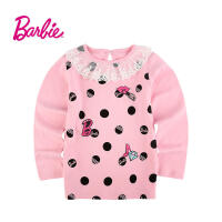 【满200减100】Barbie芭比女童装秋装印花长袖圆领纯棉T恤中童上衣打底衫