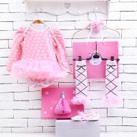 货到付款 Yinbeler 女婴儿哈衣长袖棉春夏新生儿0-12个月满月礼物女宝宝公主裙立体礼盒套装波点