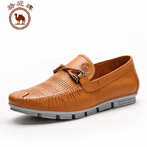 骆驼牌 春夏新款时尚纯色男士休闲皮鞋 套脚男鞋低帮鞋耐磨