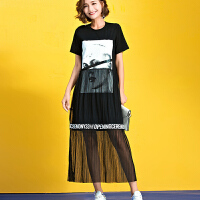 微胖女装胖人加肥加大码夏装女胖mm2017夏装新款拼接t恤连衣裙   YX1649