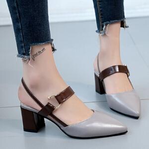 欧洲站中跟鞋2017夏季新款尖头鞋帅气皮带扣粗跟高跟鞋时尚凉鞋女ZR-1709