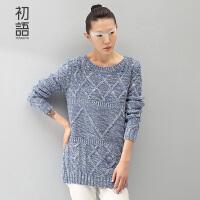 初语冬季针织麻花纹中长款套头毛衣针织衫女8530423021