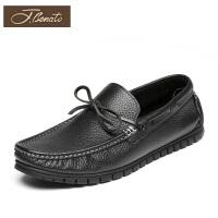 宾度男鞋新品男士帆船鞋英伦休闲鞋平跟驾车鞋软底套脚皮鞋