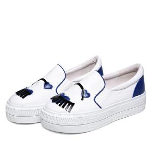 milkroses 17春季新款趣味萌物牛皮懒人鞋