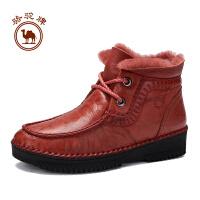 骆驼牌女靴子  冬季舒适手工缝制女鞋耐磨加绒保暖休闲女靴