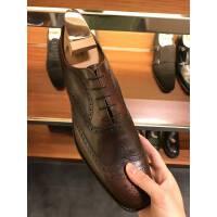 PRADA 棕色布洛克风男式方头皮鞋
