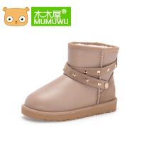 木木屋儿童雪地靴女童靴子棉靴女孩冬靴2016冬季加绒保暖短靴