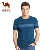 骆驼男装 2017年夏季新款印花圆领修身商务休闲男青年短袖T恤衫