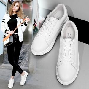 ZHR2017春季新款真皮平底小白鞋女韩版厚底休闲鞋学生单鞋板鞋潮G101