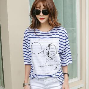 2017韩版时尚宽松女士春夏新款条纹短袖纯棉T恤BB17141