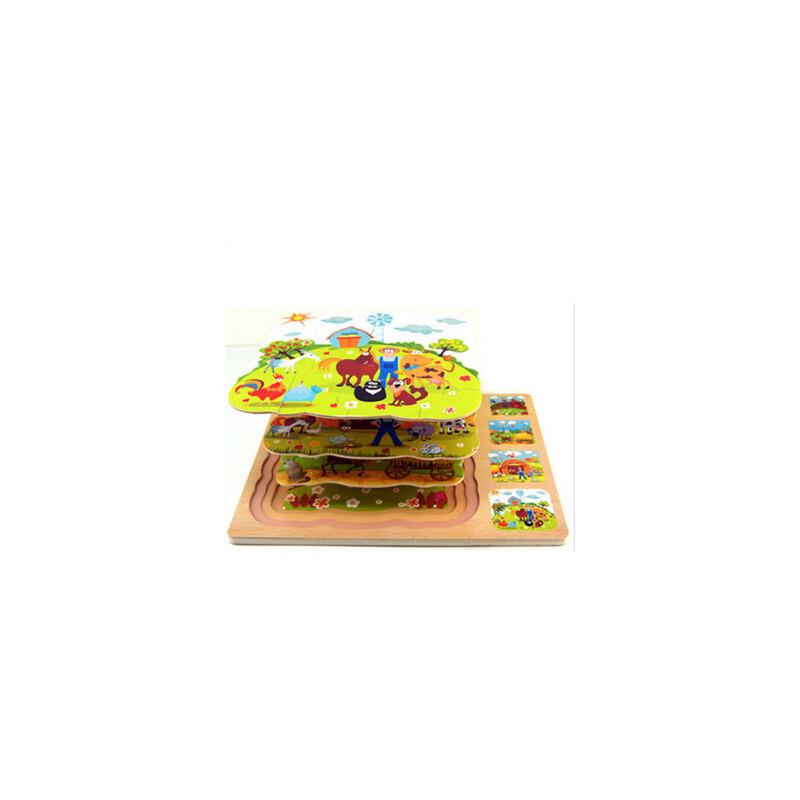多多鹿木制玩具 早教木制益智拼图玩具 拼板 早教多层农场立体拼图