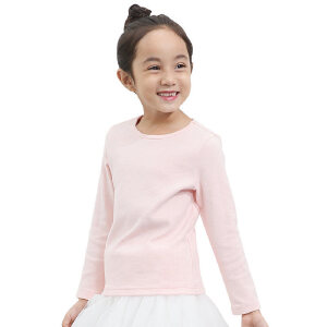 amii童装2017春秋女童长袖T恤厚款中大童儿童纯色圆领打底衫上衣