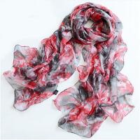 丝巾雪纺女士纱巾薄款长装饰款豹纹纱围巾冬季