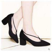 百年纪念春季新款尖头高跟鞋英伦粗跟单鞋女百搭黑色休闲鞋潮1364