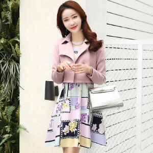 香衣宠儿 2017春季新品女装 韩版短外套 格子连衣裙套装两件套 印花裙子 2580-1709