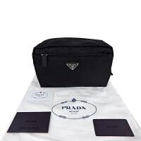 Prada黑色尼龙面金属标拉链收纳小手包 1NA394