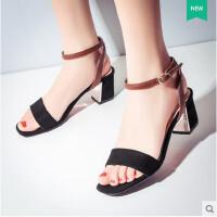 女凉鞋高跟鞋黑色凉鞋性感拼色一字扣带高跟鞋粗跟女凉鞋