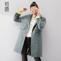初语2016冬装毛呢大衣女学院风修身显瘦中长款女装外套女8531224807