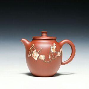 【只有一个】国家工艺美术师杨巧琴老师作品,花鸟平盖壶,底槽清,300CC
