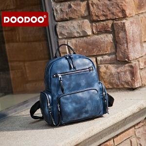 DOODOO 旅行背包女2017新款潮大容量旅游包包休闲多口袋个性双肩包 D6135 【支持礼品卡】