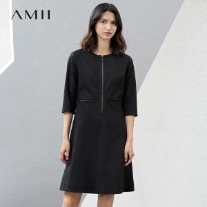 Amii[极简主义]2017春新大码通勤圆领拉链镂空弹性连衣裙11770797
