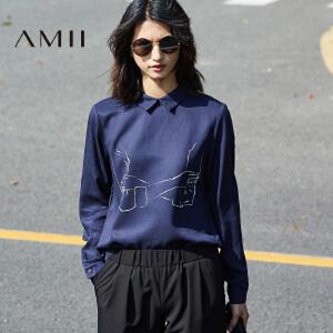 Amii2017春通勤个性涂鸦印花翻领长袖大码衬衫11770442