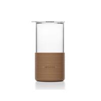 尚明耐热玻璃杯仿烫带硅胶套清茶绿茶杯直筒透明喝水杯450ml