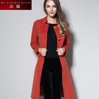 小虫 冬装新款简约斜纹保暖毛呢外套女中长款修身大衣