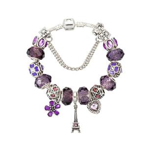 芭法娜  巴黎铁塔 时尚百搭晶石 新款紫色滴油铁塔水晶琉璃串珠手链