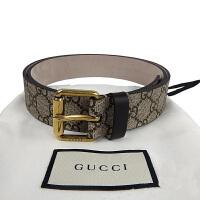 Gucci古驰男款蜜蜂图案浅咖色印花腰带 434 520
