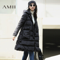 【AMII超级大牌日】[极简主义]2016女冬新拼接复合皮连帽中长款大码羽绒11642122