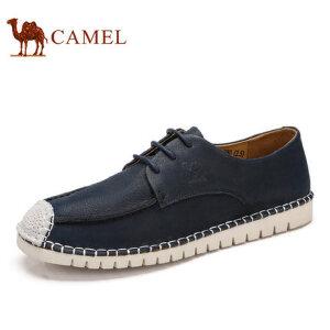 camel骆驼男鞋 2017春季新品 日常休闲潮流拼接牛皮低帮鞋舒适男鞋