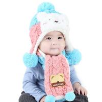 冬天宝宝男女帽子围巾套装幼童冬季保暖小熊帽子围脖两件套