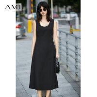 Amii[极简主义]夏装2017新款纯色大码修身A字无袖连衣裙11733158