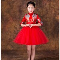 新款儿童演出服小孩旗袍童装连衣裙 长袖加厚宝宝公主裙唐装女童旗袍