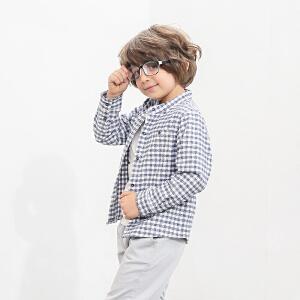 amii童装2017春新款男童长袖格子衬衫中大童儿童纯棉立领衬衫
