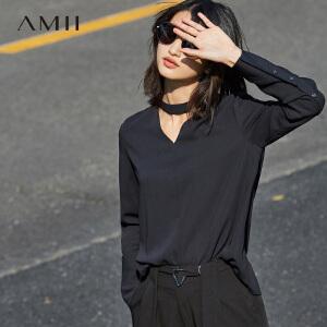Amii[极简主义]2017春女新纯色镂空领圈带挂脖长袖雪纺衫11780462