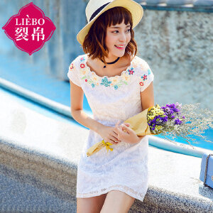 裂帛女装2017夏装新款花边一字领短袖直筒裙雪纺蕾丝连衣裙女