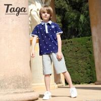 TAGA童装纯棉短袖套装2017夏季新品翻领polo衫短裤3-15岁男童