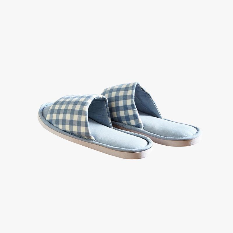 当当优品 纯棉日式水洗棉家居拖鞋 软底四季拖 敞口款 格子款
