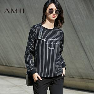 Amii[极简主义]2017春新圆领长袖印花宽松显瘦条纹卫衣女11770083